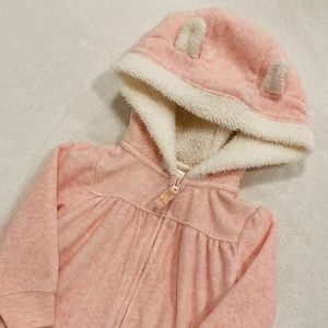 Carters Fuzzy Pink Hooded Baby Girl Jacket